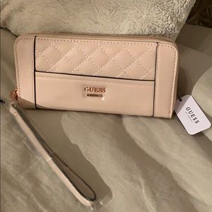 Guess Peach and Rose Gold Zipper Wallet